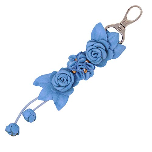 Genuine Leather Handmade Twin Rose Charms | Tassel for Bags Purse Backpack | Stainless Steel Keyring | Unique Gift Idea (Light Blue)