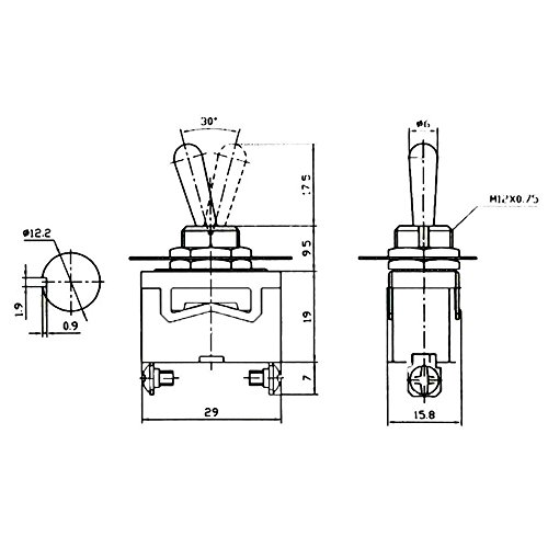 e support heavy duty 20a 125v 15a 250v spst 2 terminal pin