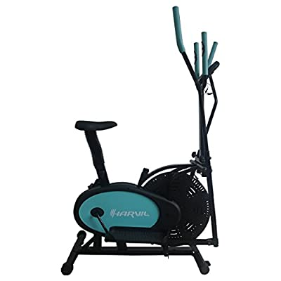 Harvil Elliptical Trainer 2-in-1 Exercise Bike with Fitness Tracker, Pulse Rate Sensors, Tension Adjustment and Textured Pedals
