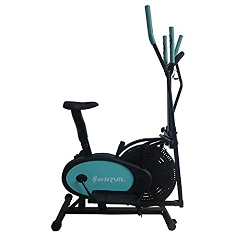 Harvil Elliptical Trainer 2-in-1 Exercise Bike with Fitness Tracker, Pulse Rate Sensors, Tension Adjustment and Textured - Home Elliptical Trainer