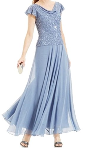 J Kara Dusty Women's Embellished Popover Ball Gown Blue 10
