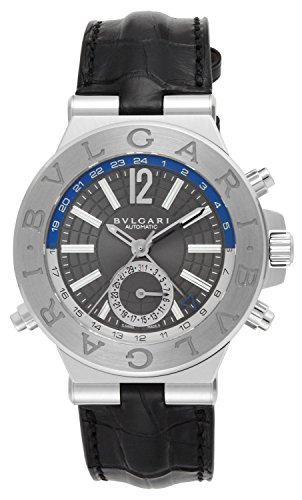 - BVLGARI Diagono Black Dial Alligator Leather Belt Automatic Winding Men Watch DG40C14SLDGMT