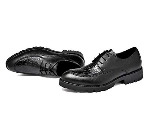 WZG Los nuevos zapatos del estilo británico Bullock talladas zapatos casuales zapatos de la marea de los hombres de peluquería masculina gruesa corteza Black