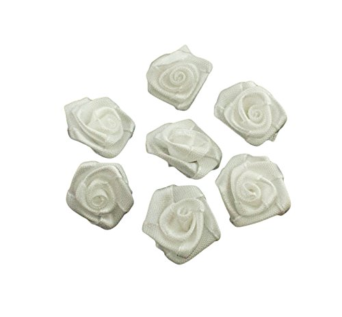 HAND H0630 Roses Fabric Flower Sew On Trims, Embellishments Size 20 mm Pack of 20 White by HAND