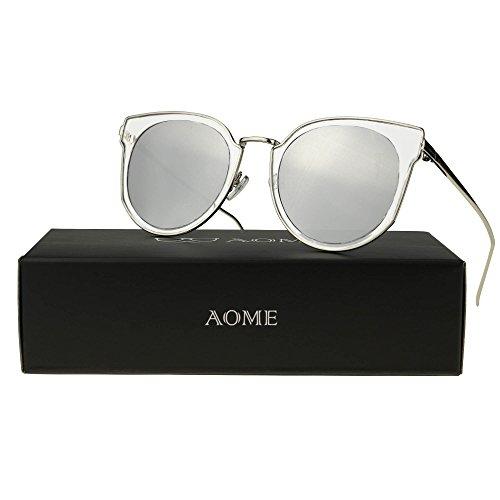 AOME Cat Eye Sunglasses Transparent Frame Reflective Mirror Lenses Round Sunglasses (Silver&Silver, - Mirroed Sunglasses