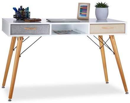 Relaxdays Schreibtisch, skandin. Design, 3 Fächer, 2 Schubladen ...