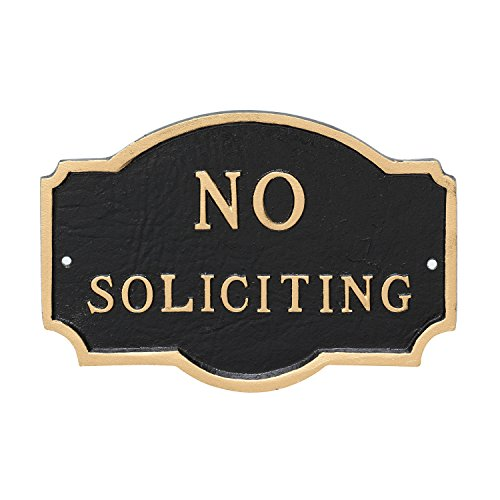 Montague Metal Products Petite Montague No Soliciting Statement Plaque, Black with Gold Letter, 4.5