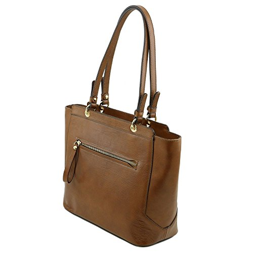 Scuro In - Tl141231 Shopper Leather 97 Doppi Manici Neoclassic Talpa Tuscany Con Nero Tl Borsa Pelle