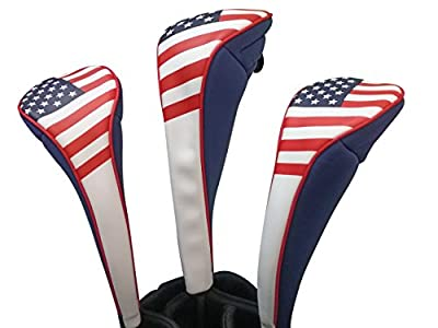 USA Patriot Golf Zipper Head Covers Driver 1 3 5 Fairway Woods Headcovers U.S.A Neoprene Style Patriotic Driver Fits All Fairway Clubs and Drivers up to 460cc