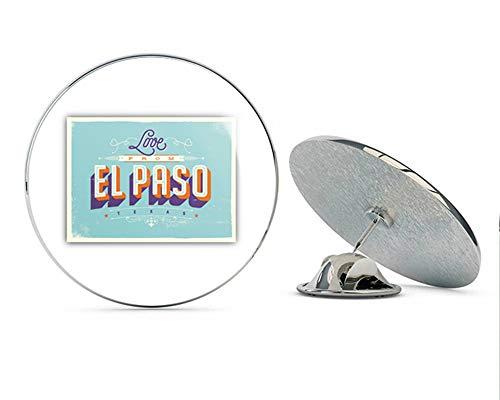 El Paso City Texas USA Vintage Label Round Metal 0.75