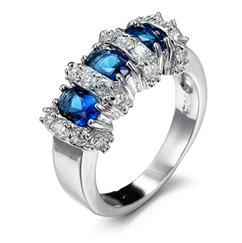 Chen Dick 14k Silver Oval Cut Simulated Blue Sapphire Zircon Antique Rings for Women Wedding,Size 8
