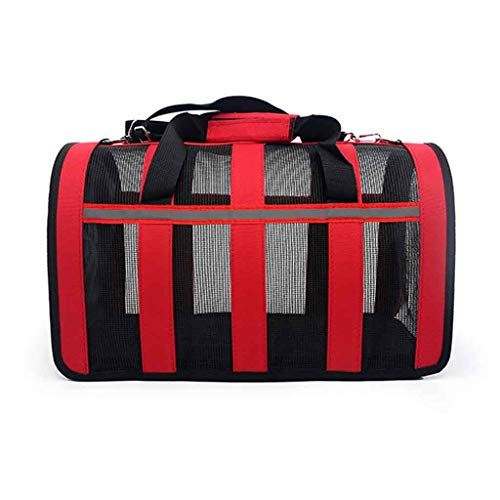 Wwjpet Soft Sided Pet Carrier Medium Dogs Cats Carrier Foldable Lightweight Collapsible Breathable Comfortable Airline Approved Handbag for Walking Outdoors,Red,S
