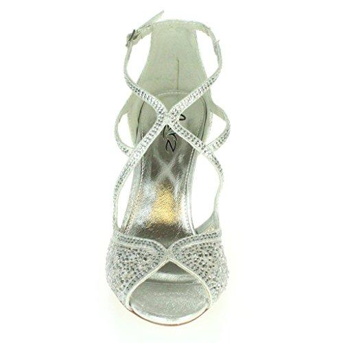 Mujer Señoras Diamante Tacón alto Peep Toe Correa cruzada Nupcial Noche Boda Fiesta Paseo Sandalias Zapatos Tamaño Plata
