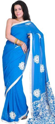 Exotic India Imperial Blue Hand Embroidered Phulkari Sari from Punjab (Punjabi Best Shayari Ever)
