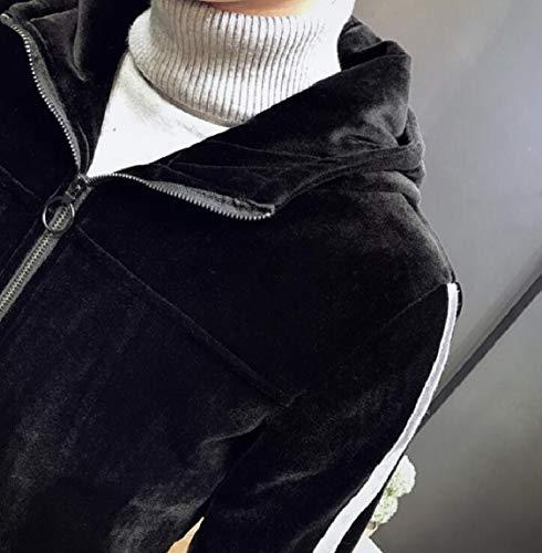 Lightweight Jacket Sleeve Hooded Men's security Velvet Outwear Long Black Zipper Casual wW4ga8qC