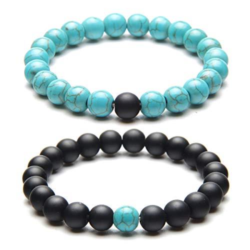 Holattio Men Women 8mm Tiger Eye Agate Howlite Stone Beads Bracelet Elastic Natural Energy Stone Yoga Bracelet - Stone Bangle Eye