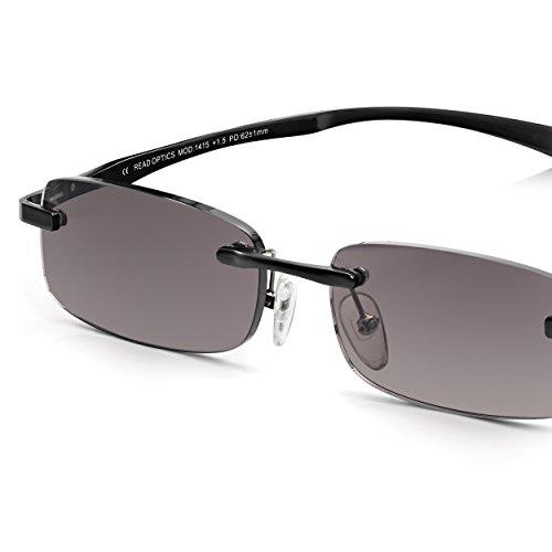 Read Optics Lunettes de soleil sans monture pour hommes  Lunettes de  lecture à protection UV 100% avec charnières à ressort, noir carbone +2.0   Amazon.fr  ... d5d05b67c7d2