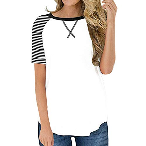 Womens Short Sleeve Tops Casual Striped Blouse Color Block Loose T Shirts Pullover White
