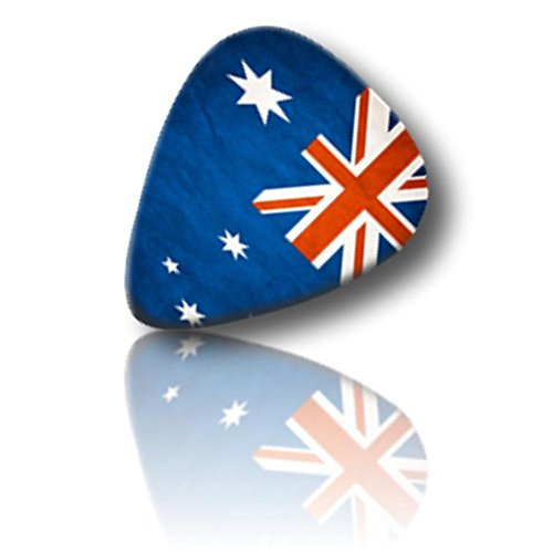 "Unique and Custom (.71 MM Thick) Medium Gauge Hard Plastic, Traditional Style ""Semi Tip"" Guitar Pick w/ Australian National Flag Banner Emblem Logo Print {White, Blue & Red - Multipack Lot 25 Picks}"