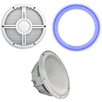Wet Sounds Revo 10 Subwoofer, Grill, RGB LED Ring - White Subwoofer & White Closed Face XW Grill - 4 Ohm