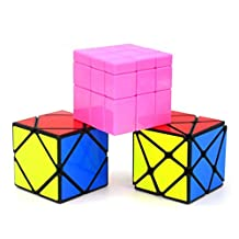 Heddi Magic Speed Cube Puzzle Transformers Skewb Mirror Cube - Pink 3*3*3 Brain Teaser Puzzle Cube Bundle Box Pack