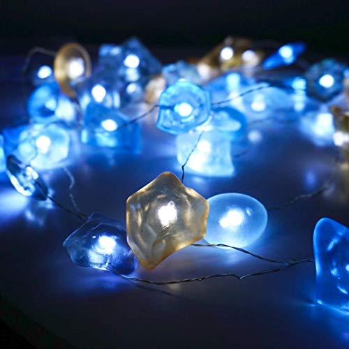 Beach Stone String Lights Ocean Theme Starry Silver Wire Shell Light Strand 14ft 40 LED Decorative Lighting Battery Powered with 8 Modes Remote for Bedroom (Stone, Cool White)