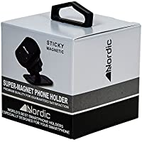 Nordic Sticky Magnetic: Universal Black Rectangular Cell Phone Holder with 3M Pads for Vehicle or Flat Surface, 30-Second Install with 4 N52 Magnets