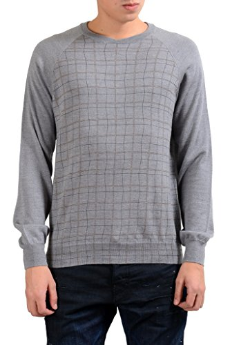 (Armani Collezioni Men's Gray Crewneck Plaid 100% Wool Sweater US S IT)