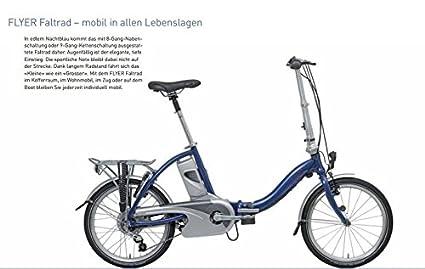 Bicicleta plegable E-Bike Flyer Eco de Luxe 159 KM prueba Cilindro de 8 Ah Piñón libre RH 41 cm: Amazon.es: Deportes y aire libre