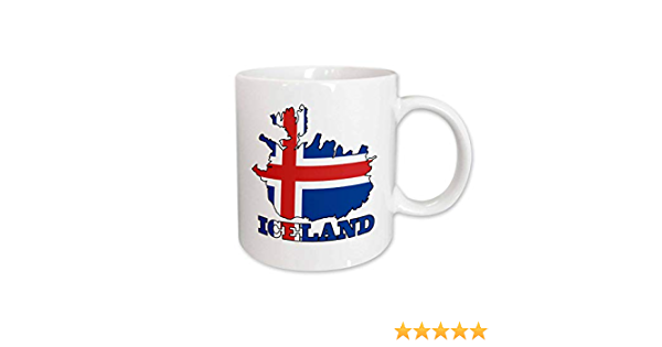 Amazon Com 3drose Mug 63163 1 The Flag Of Iceland In The Outline Map Of The Country And Name Iceland Ceramic Mug 11 Oz Multicolor Kitchen Dining