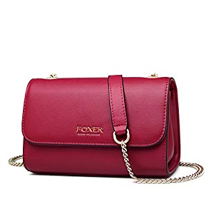 FOXER Women Leather Crossbody Bag Small Purse Crossbody Chain Shoulder Bag