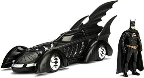 Jada Toys DC Comics Batman Forever Batmobile Die-cast Car, 1:24 Scale Vehicle & 2.75″ Collectible Metal Figurine, Black