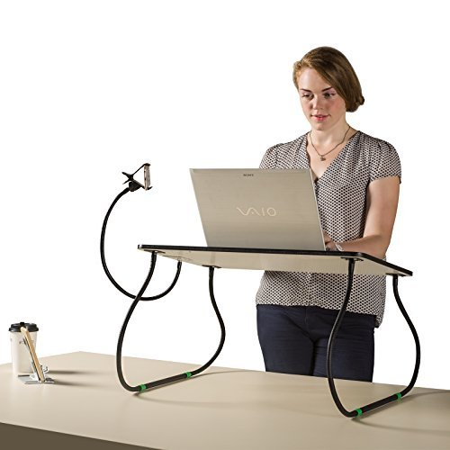 26'' Wide Adjustable Standing Desk Table Riser with Phone holder & Wrist Rest Pad Helps Relieve Back Pain