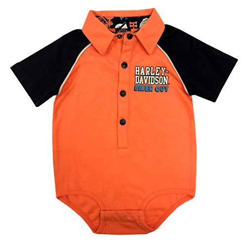 HARLEY-DAVIDSON Baby Boys' Biker Guy Short Sleeve Knit Creeper - Orange (6/9M)