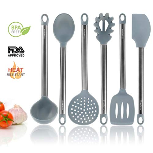 Grey Silicone Cooking Utensils for Modern Cooking and Serving - Grey with Brushed Black Stainless Steel Cooking Utensils, 6-Piece Set: Black Kitchen Decor by Styled Settings