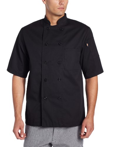 Dickies Men's Donatello Short Sleeve Classic Chef Coat, Black ()