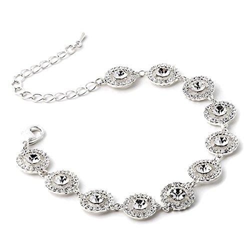 Silver Crystal Round Shape Rhinestone Circle Wrapped Rhinestone Stud Link Bracelet -