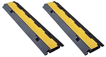 2- Protectores cable Pasacables de suelo doble via 100x25x4 cm Protector de cables de caucho de doble via