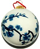 Hand Painted Glass Ornament, Blue and White Cherry Blossoms CO-100