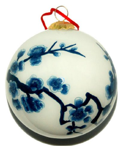 World Treasure Hand Painted Glass Ornament, Blue and White Cherry Blossoms CO-100 - White Hand Painted Glass
