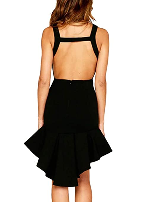 823317110a2 Amazon.com  LASOR Womens Bodycon Backless Cocktail Dress Sleeveless Ruffled  Wrap High Low Sundress  Clothing