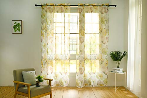 - Anjee Print Sheer Curtain Panel with Lotus Pattern, 2 Panels Beautiful Ink-Splashing Painting Style Voile Curtain Sheers for Girls' Bedroom, Living Room, Study Room, Rod Pocket, 52'' WX96'' L