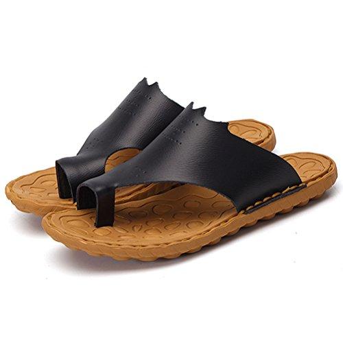 Bequeme Herren Flops Hausschuhe Style2 schwarz MatchLife Praktische Arbeitsschuhe Flip Pantoletten Leder B8dPqw