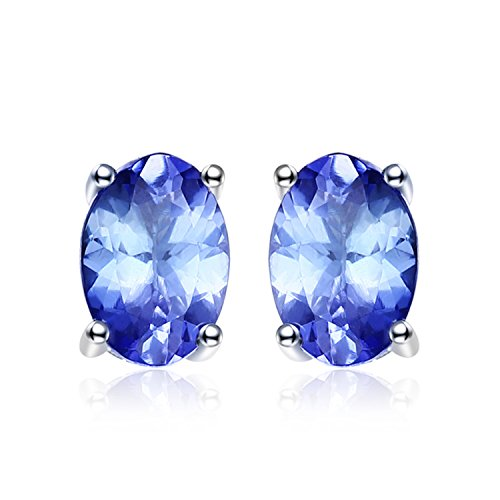JewelryPalace 925 Sterling Silver 1ct Natural Tanzanite Stud Earrings