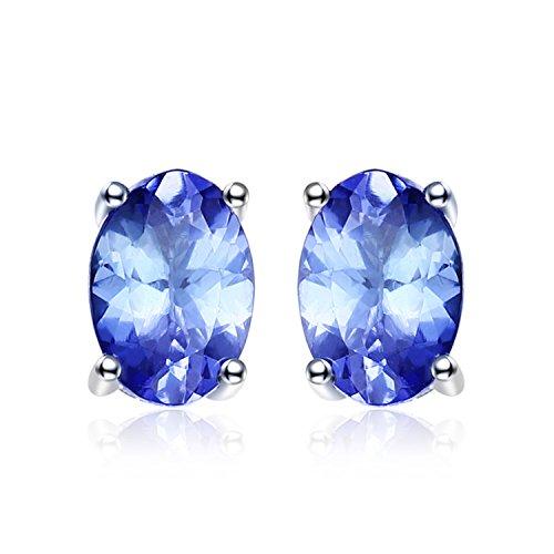 erling Silver 1ct Natural Tanzanite Stud Earrings (1 Ct Natural)