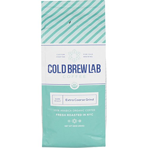 Cold Brew Lab Ground Organic Coffee Crafted for Cold Brewing, Extra Coarse Grind Size, Dark Roast, 1 LB Bag