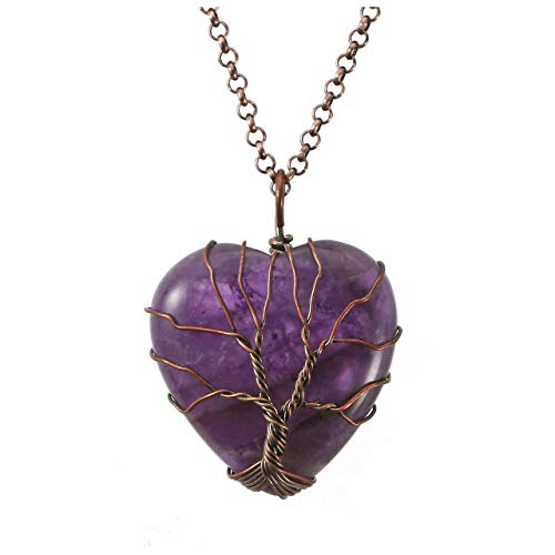 Top Plaza Natural Amethyst Healing Crystals Necklace Bronze Tree of Life Wire Wrapped Stone Heart Pendant Necklaces Reiki Quartz Jewelry for Womens Girls Ladies