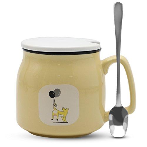 Asmwo Cute Dog Mug Funny Light Yellow Ceramic Coffee Tea Mug with Lid and Spoon Birthday Christmas Thanks Giving Gift Mugs for Women Girls Boys Kids 12 oz