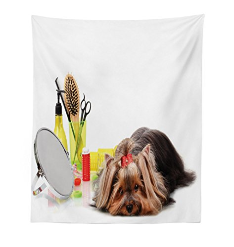 Lunarable Dog Lover Tapestry, Cute Yorkshire Terrier with Grooming Items Haircut Scissors Mirror Comb Print, Fabric Wall Hanging Decor for Bedroom Living Room Dorm, 23 W X 28 L inches, Multicolor by Lunarable