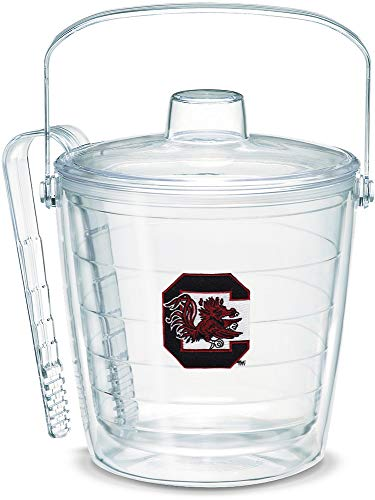 (Tervis 1007660 South Carolina Gamecock Insulated Ice Bucket and Tongs with Emblem Lid, 87 oz, Clear)